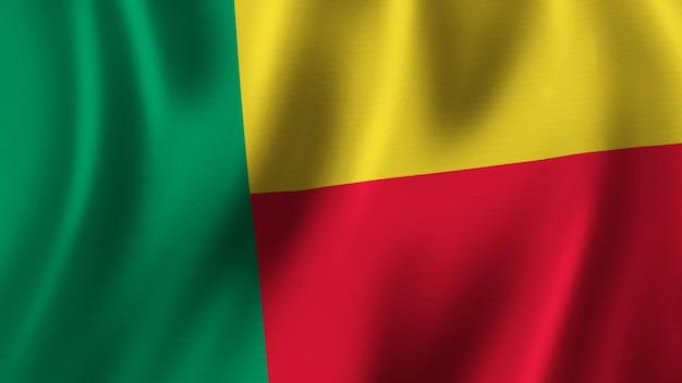 Benin-flagge wehende nahaufnahme 3d-rendering mit hochwertigem bild mit stoffstruktur