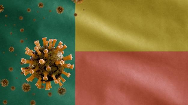 Beninese winkende flagge und coronavirus-mikroskopvirus