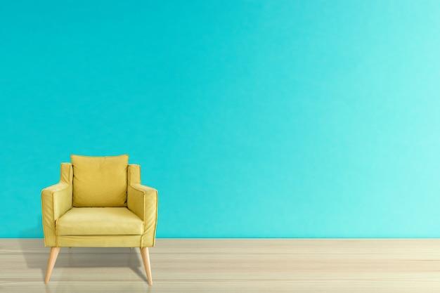 Bequemer gelber sessel gegen blauen wandhintergrund