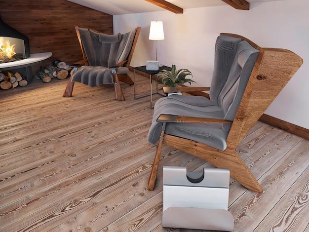 Bequemer sitzbereich der beiden stühle am kamin auf dem dachboden im loftstil