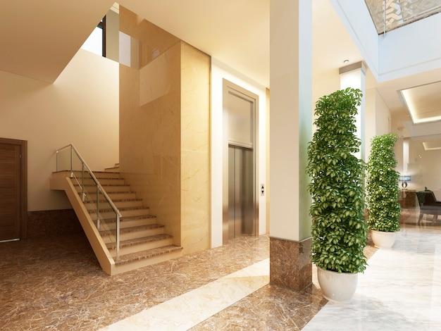 Bereich treppe und aufzug indoor-lounge-bereich eines teuren hotels. 3d-rendering.