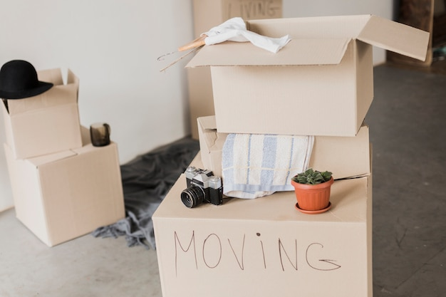 Bereit, kartons zu bewegen