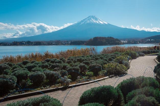 Berg fuji und see in japan mit baum und straße