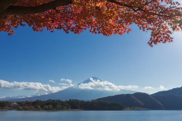 Berg fuji und see in japan mit blauem wolkenhimmel und rotahornbaum