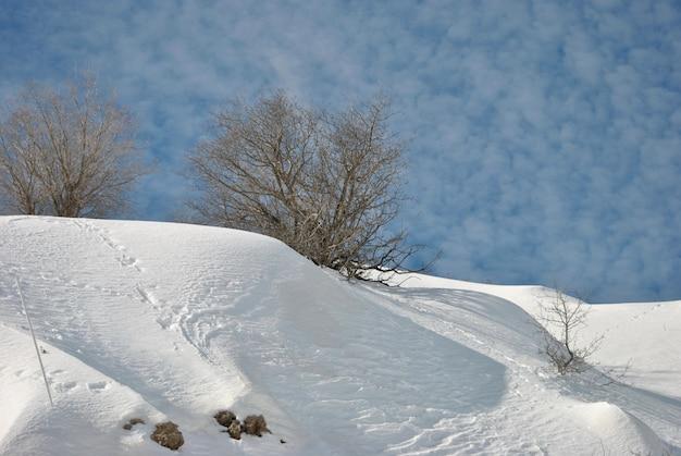 Berg hermon mit schnee. das skigebiet. israel