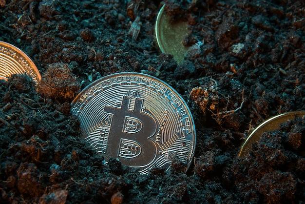 Bergbau-kryptowährung - bitcoin, online-geldmünze im dreck.