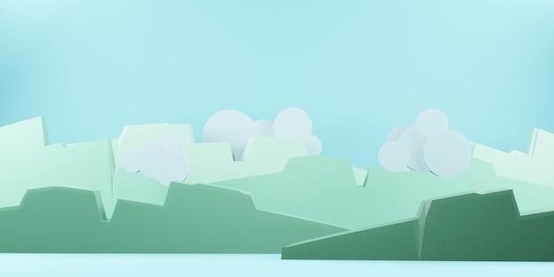 Berge himmel und wolken die sonne am himmel papierschnitt-stil 3d-illustration (1)