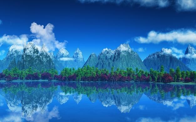 Berge mit schnee und bäume
