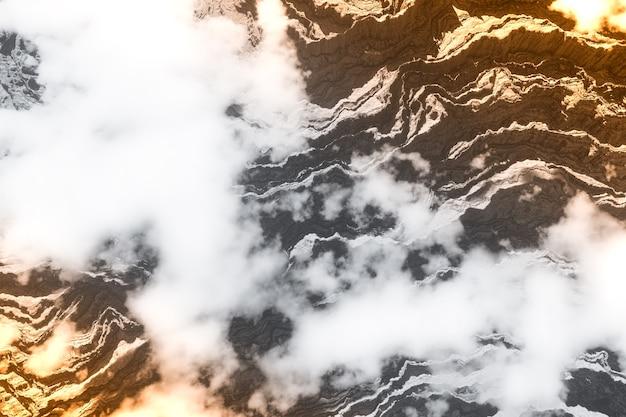 Berggipfel in großer höhe 3d-rendering-landschaftshintergrund