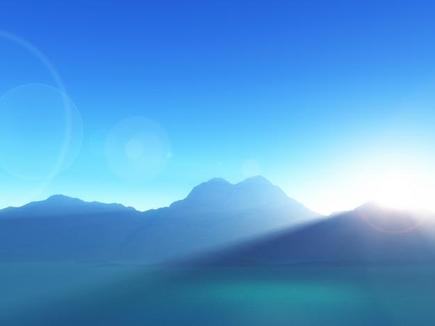 Berglandschaft 3d gegen einen sonnenunterganghimmel