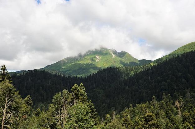 Berglandschaft mit den wolken, die über dem kaukasus hängen