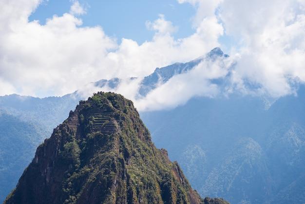 Bergspitze wayna picchu über machu picchu, peru