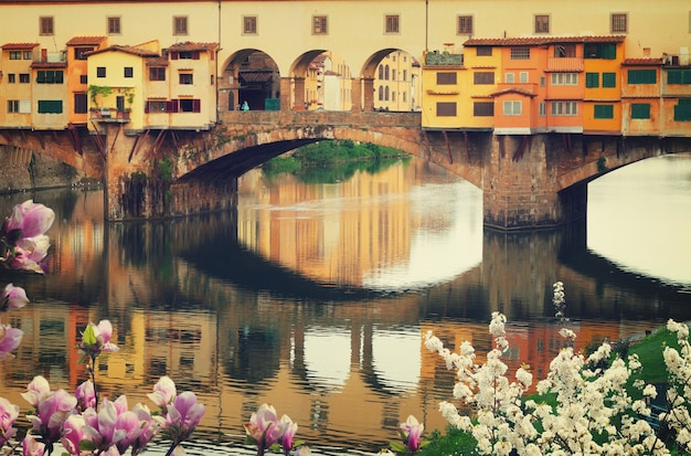 Berühmte brücke ponte vecchio hautnah über den fluss arno im frühjahr, florenz, italien, retro-ton