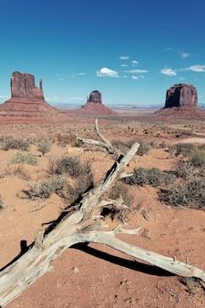 Berühmte landschaft des monument valley, vertikale ansicht