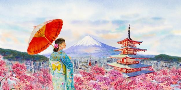 Berühmte wahrzeichen japans im frühjahr.
