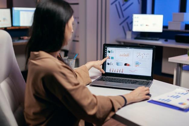 Beschäftigter mitarbeiter, der auf das diagramm zeigt, das daran arbeitet, eine frist zu spät zu beenden. geschäftsfrau, die statistiken über den laptop-bildschirm betrachtet, der an ihrem arbeitsplatz sitzt und überstunden macht.