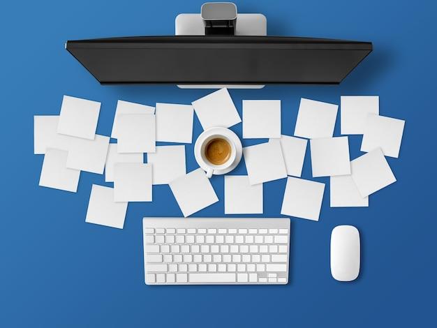 Beschäftigter schreibtisch mit vielen briefpapieren der arbeit.