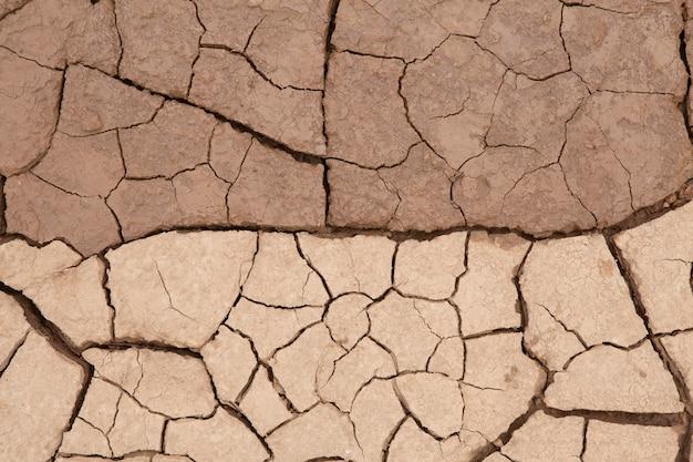 Beschaffenheit des trockenen geknisterten bodenschmutzes oder der erde während der dürre.