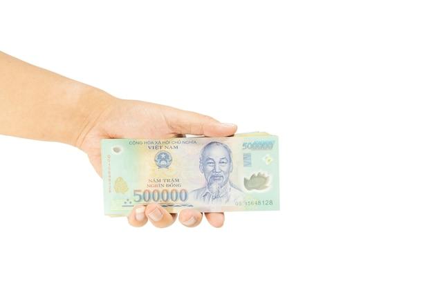 Beschneidungspfad geld in vietnam auf der linken hand