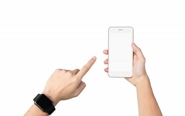 Beschneidungspfad, hand, die leeren bildschirm des smartphone hält