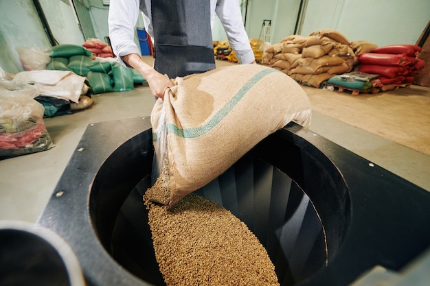 Beschnittenes bild des arbeiters in der schürze, die sack kaffeebohnen in neuen großen röster setzt