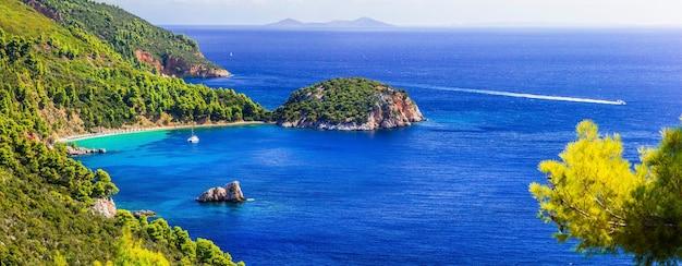 Best of skopelos island - panorama des wunderschönen strandes von stafylos. sporaden, griechenland