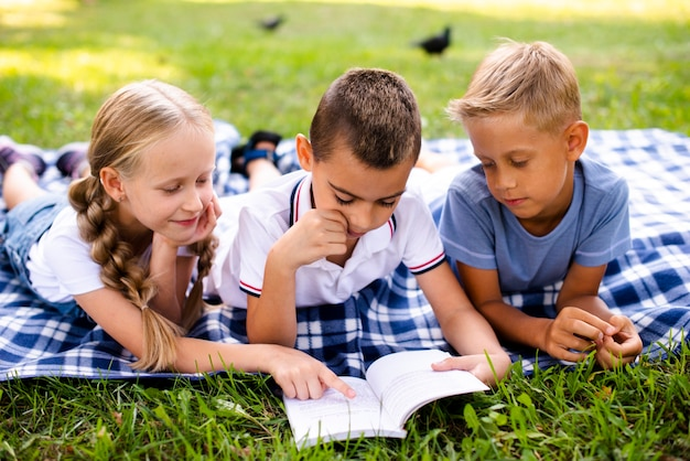 Beste freunde, die auf einer picknickdecke lesen