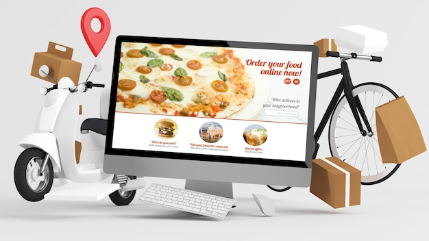Bestellen sie lebensmittel-online-lieferkonzept 3d-rendering