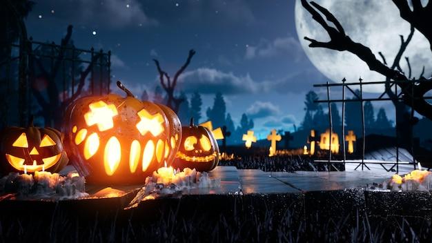 Bester halloween-hintergrund gruselig und gruseliger kürbis in flammen um mystische nacht und friedhof