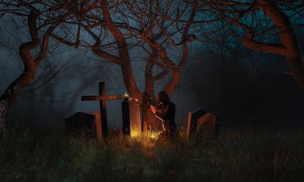 Beten auf einem friedhof in einem gruseligen wald