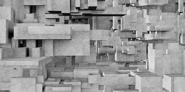 Betonblock würfel elemente architektur geometrischer hintergrund 3d-rendering