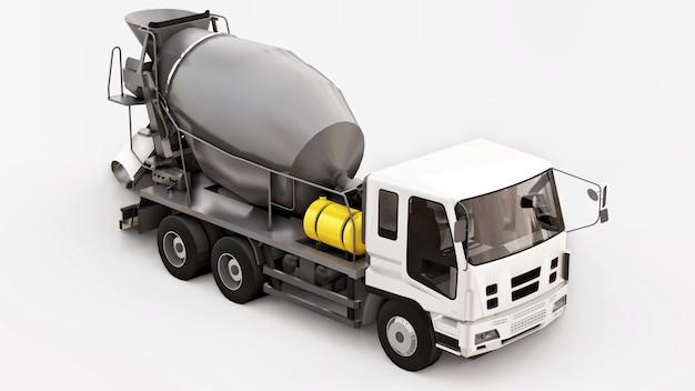 Betonmischer mit weißer kabine und grauem mischer auf weißem hintergrund. dreidimensionale darstellung von baumaschinen. 3d-rendering.