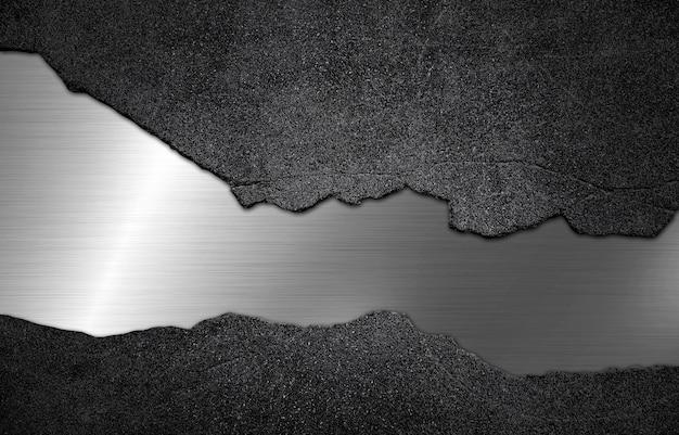 Betonstein mit silbernem metallbeschaffenheitshintergrund
