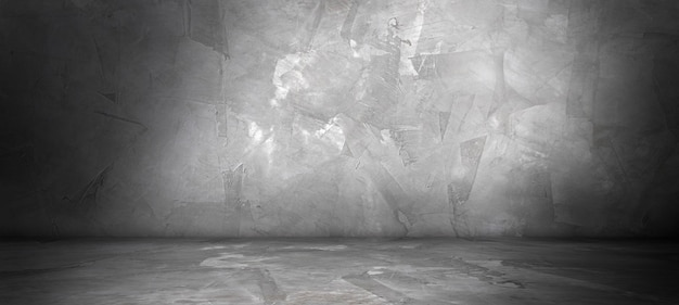 Betonwand und -boden mit scheinwerfer- und schattenhintergrund, verwendung für die produktanzeige zur präsentation und zum design von deckbannern.