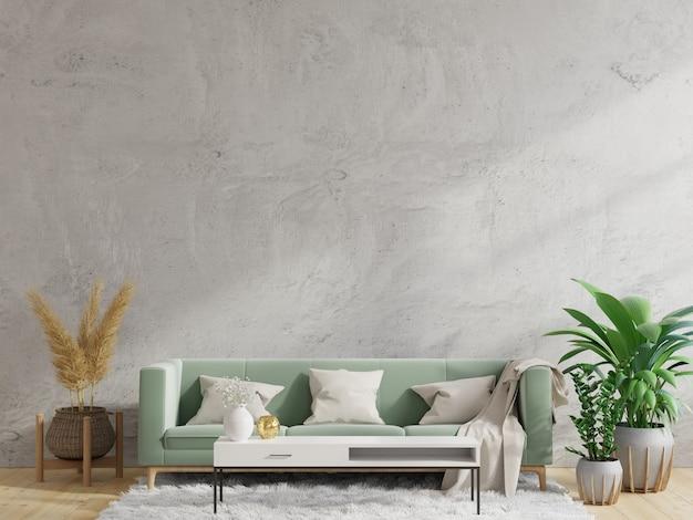 Betonwand wohnzimmer haben sofa und dekoration, 3d-rendering