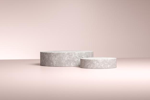 Betonzylinderförmiger ständer oder sockel für produkte. 3d-rendering. beige neutraler hintergrund.