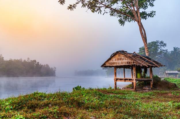 Betrachten sie den sonnenaufgang des wasserflusses mit nebel im morgenlicht
