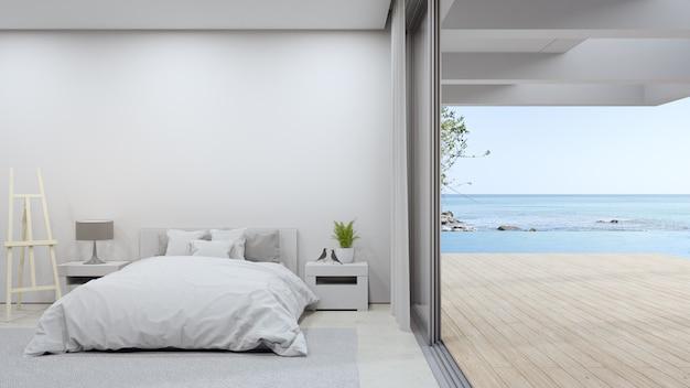 Bett auf beigem marmorboden des hellen schlafzimmers