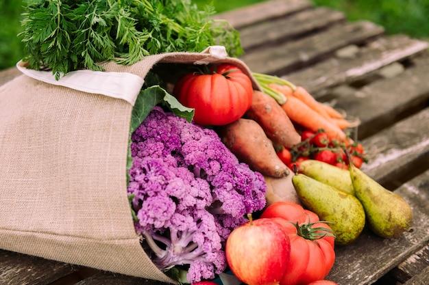 Beutel gefüllt mit bio-gemüse und obst