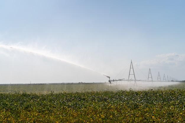 Bewässerungssystem-bewässerungs-ernten auf bauernhoffeld