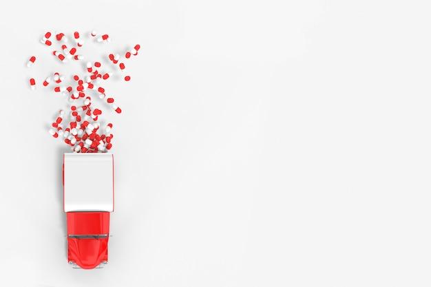 Bewegen des fahrzeugs, aus dem schlafmittel für unterwegs stammen. lieferung von medikamenten und tabletten.