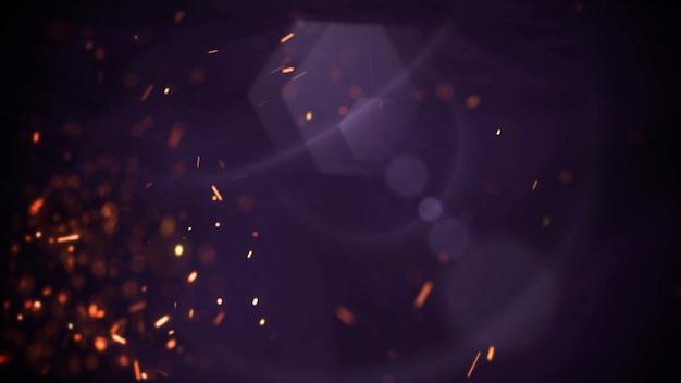 Bewegen und fliegen sie rote und violette partikel auf filmischem hintergrund mit grunge-textur. luxuriöses und elegantes 3d-illustrationsanimationsmaterial zum thema kino