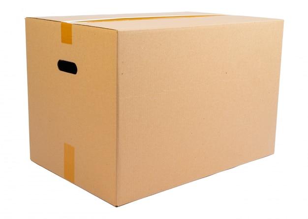 Beweglicher kasten des einzelnen kartons getrennt auf weiß