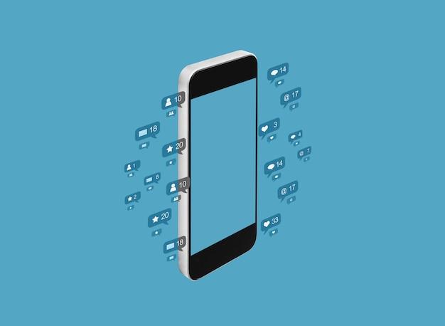 Bewegliches intelligentes telefon, social media-mitteilungsikonen auf blauem hintergrund