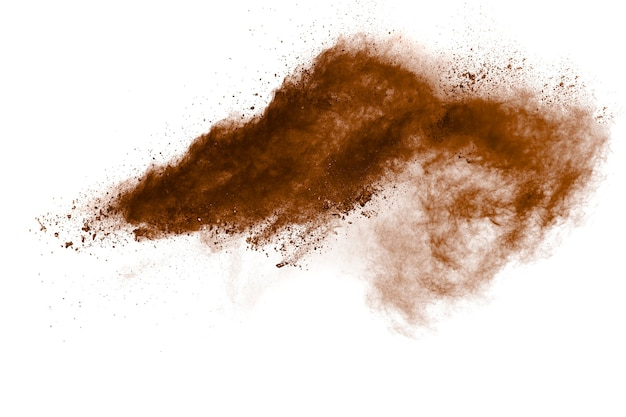 Bewegung der explosion von braunem staub einfrieren. bewegung von braunem pulver stoppen.