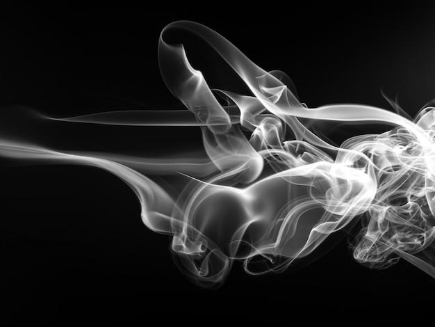 Bewegung des schwarzweiss-rauches auf schwarzem hintergrund