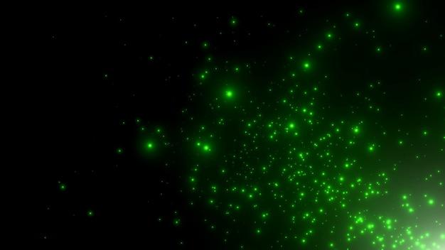 Bewegung grüne partikel und sterne in der galaxie, abstrakter hintergrund. eleganter und luxuriöser 3d-illustrationsstil für kosmos- und urlaubsvorlagen