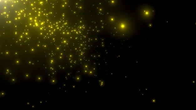 Bewegungsgelbe partikel und sterne in der galaxie, abstrakter hintergrund. eleganter und luxuriöser 3d-illustrationsstil für kosmos- und urlaubsvorlagen