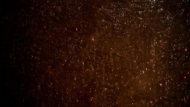 Bewegungsrauch und goldpartikel auf schmutzwand, dunkler filmischer hintergrund. luxuriöse und elegante 3d-darstellung des kinothemas
