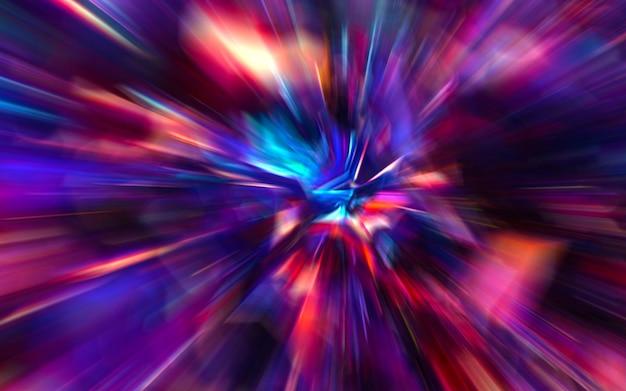 Bewegungsunschärfe durch das universum, die sich mit lichtgeschwindigkeit der tunnelgalaxie bewegt